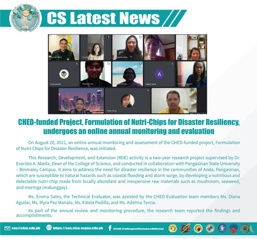 CHED Funded Project, Formulation of Nutri-Chips for Disaster Resiliency, Undergoes an online Annual Monitoring and Evaluation